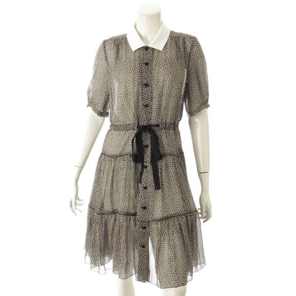 総柄 シースルー ワンピース ドレス 35743 ブラック×ホワイト 40
