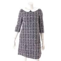 ツイード 七分袖 ワンピース ドレス 39875 ネイビー 38