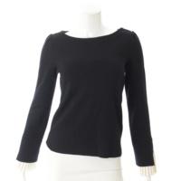 袖プリーツ ニット セーター 37124 ブラック×ホワイト 38