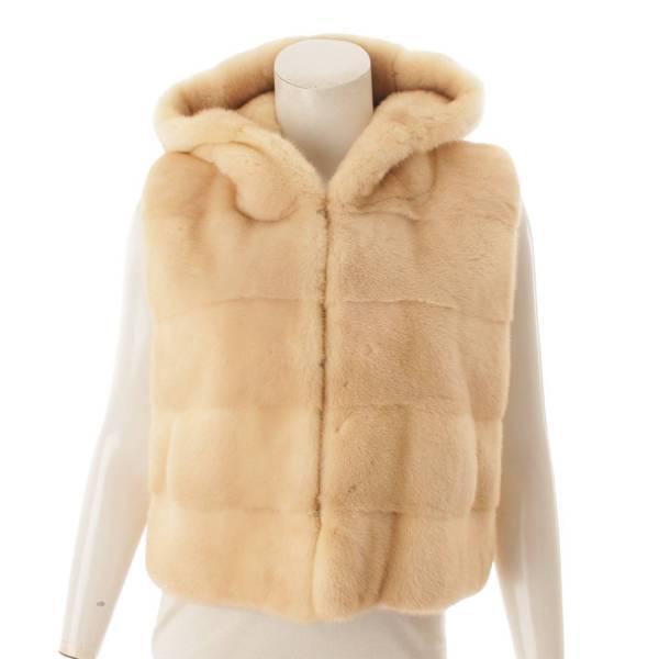Fur Vest ミンク フード付 ベスト 34923 ベージュ 40