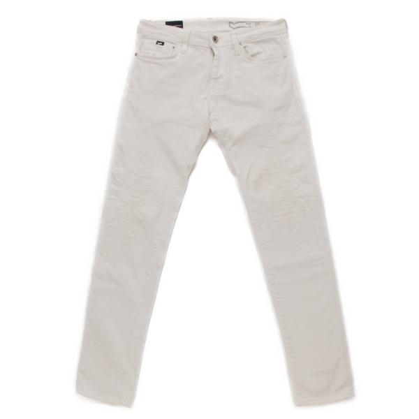 メンズ ダメージジーンズ デニム パンツ ホワイト 32