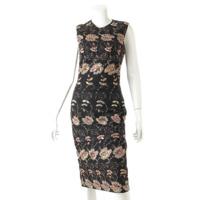 スパンコール 刺繍 シルク ワンピース 16A2127393 ブラック