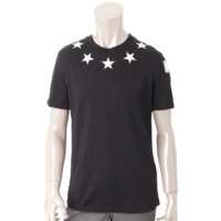 メンズ コットン スター Tシャツ ブラック S