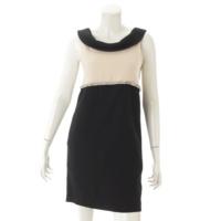 ビジュー ノースリーブ ミニ ワンピース ドレス ブラック×ベージュ 34
