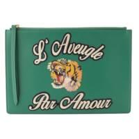 L`Aveugle Par Amour タイガーパッチ クラッチバッグ 431416 グリーン