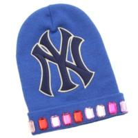 ウール ニットキャップ ニット帽 ビーニー NYヤンキース ラインストーン ブルー M