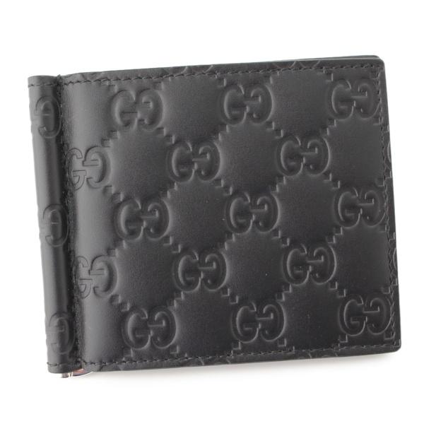 グッチシマ マネークリップ付き 札入れ カードケース 170580 ブラック