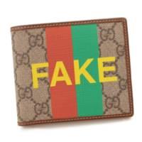 現行品 FAKE/NOT プリント コインウォレット 折り財布 636167 ブラウン