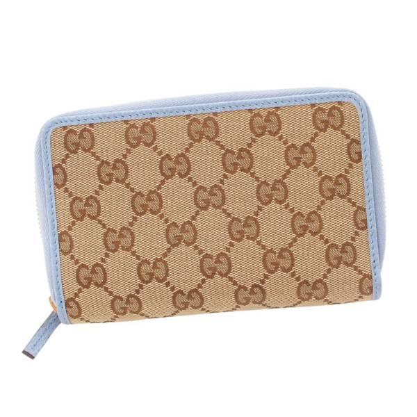 GGキャンバス ラウンドファスナー 二つ折財布 420113 ブラウン ブルー