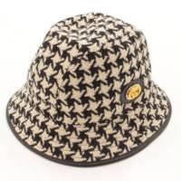 千鳥柄 レザーパイピング ツイード バケット ハット 帽子 577731 ブラック ホワイト M