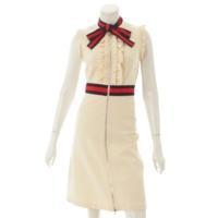 17AW ウェブトリム ジャージー ドレス ワンピース 434249 ベージュ S
