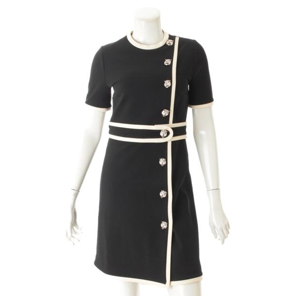 18AW タイガーボタン ビスコース ジャージー ドレス 526978 ブラック S