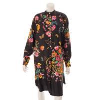 シルク フローラル シャツ ワンピース ドレス 花柄 549925 ブラック 36