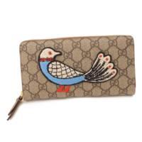 GGスプリーム 鳥刺繍 ラウンドファスナー長財布 バード 456863 ベージュ