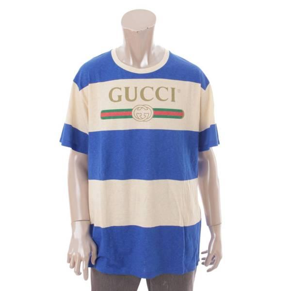20SS ロゴ ボーダー Tシャツ 604176 ブルー ベージュ M
