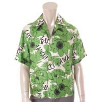 メンズ シルク 花柄 半袖トップス ボウリング シャツ 609040 グリーン 44
