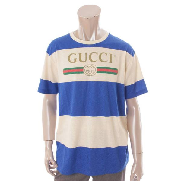 20SS ロゴ ボーダー Tシャツ トップス 604176 ブルー×ベージュ XS