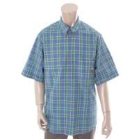20AW ピグレット付 半袖 オーバーサイズ チェック シャツ 626093 ブルー×グリーン 44