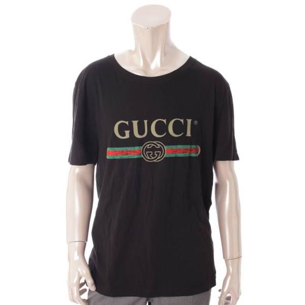 メンズ ヴィンテージ ロゴ プリント Tシャツ 440103 ブラック M