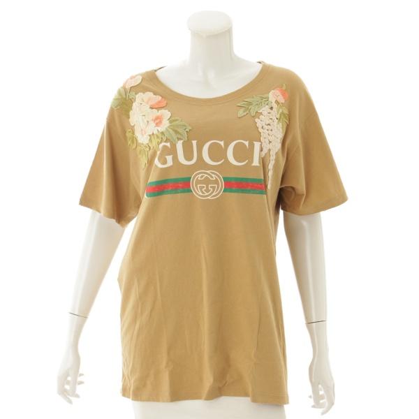 グッチロゴ アップリケ付き Tシャツ 492347 ブラウン S