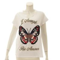 バタフライ 刺繍 Tシャツ 434543 ホワイト S
