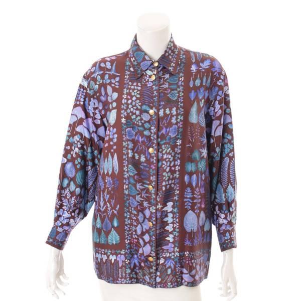フラワー 花柄 シルク シャツ ブルー 38