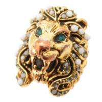 ライオン ヘッド ホワイトスワロフスキー リング 指輪 ゴールド 10号