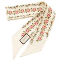 シルク 花柄 フラワー ネックボウ スカーフ アイボリーホワイト