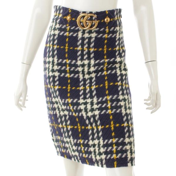 GGバックル ツイード スカート 423871 ネイビー 38