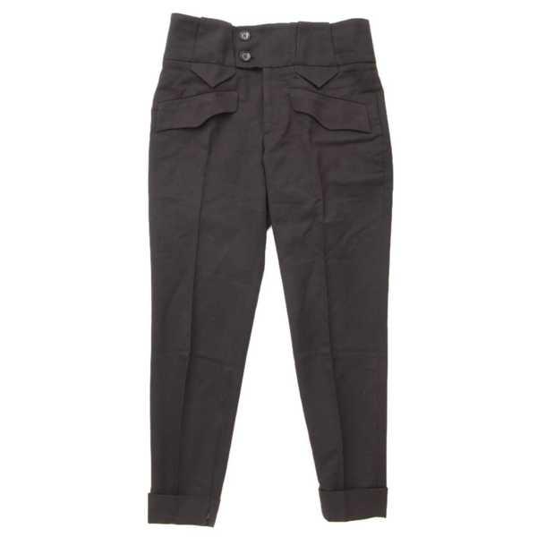 ハイウエスト センタープレス パンツ 196201 ブラック 38