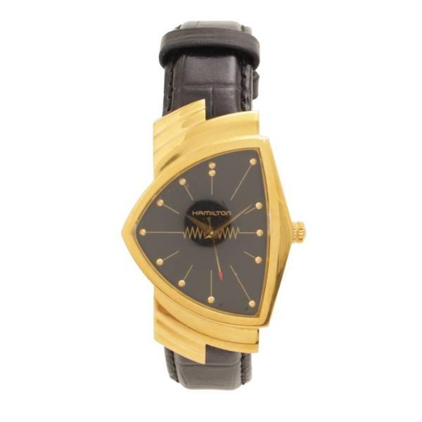 ベンチュラ クオーツ 腕時計 H243010 ゴールド ブラック レザー 革