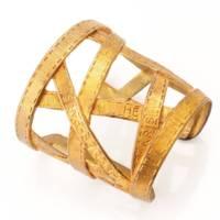 ヴィンテージ ボルデュック ワイドカフ バングル ブレスレット リボン柄 ゴールド