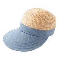 18SS ラフィア デニム キャップ 帽子 ナチュラル×ストーンウォッシュ