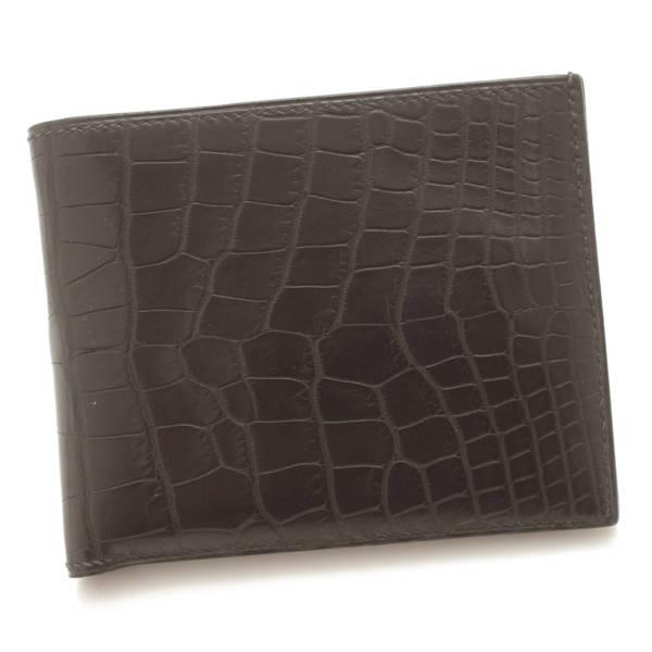MC2 メンズ クロコダイル アリゲーター 二つ折り財布 □J刻 ブラック