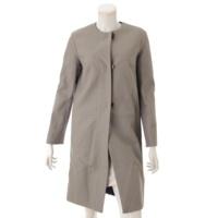 ラムレザー ノーカラー ロングコート グレー 34