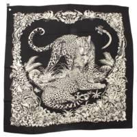 カレ140  カシミヤ シルク ストール ジャングル・ラブ Jungle Love ブラック ホワイト
