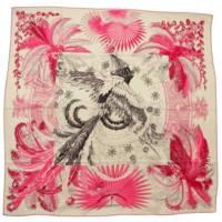 カレ140 カシミヤ シルク ストール 不死鳥の神話 Mythiques Rhoenix ホワイト ピンク