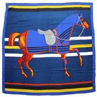 カレ140 カシミヤ シルク カレジェアン スカーフ Cheval a la Couverture 馬着とともに
