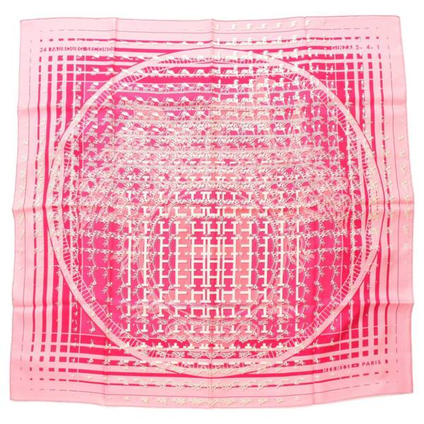 カレ90 シルク スカーフ 24 FAUBOURG SECONDE GINZA 5-4-1 ピンク