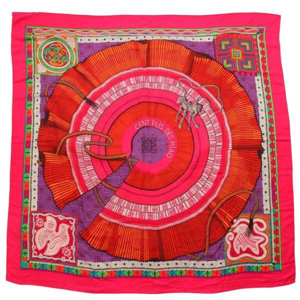 カレ140 カシミヤ混 スカーフ cent plis des miao 芽家のプリーツ ピンク
