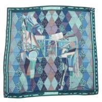 カレ140 カシミヤ シルク スカーフ Patchwork Horse パッチワークの馬 ストール ショール ブルー グリーン