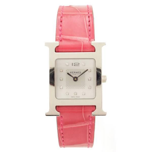 Hウォッチ 腕時計 HH1.210 ダイヤ 11P 0.04ct T刻 シルバー ピンク