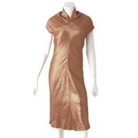 シルク混 ラメ ワンピース ドレス ブラウン×ゴールド