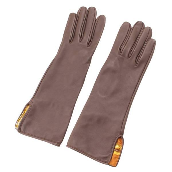 レザー シルクイン グローブ 手袋 ブラウン S