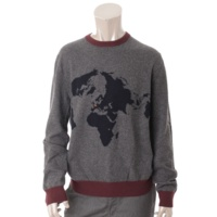 メンズ カシミヤ ニット セーター 世界地図 グレー M
