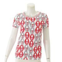 半袖 バックル柄 カットソー Tシャツ モダンなバックル ホワイト×レッド 34
