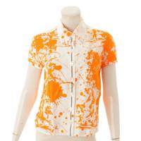 マルジェラ期 Cheval Surprise 半袖 ブラウス オレンジ×ホワイト 38