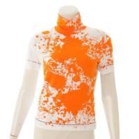 ハイネックトップス Tシャツ Cheval Surprise ホワイト×オレンジ SM