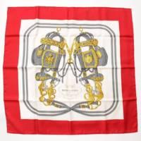 カレ90 シルクスカーフ BRIDES de GALA 式典用馬勒 馬具 レッド