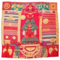 カレ140 カシミヤ シルク ストール スカーフ Parures de Samourais   侍の鎧兜 和柄 ピンク オレンジ グリーン